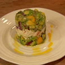Prawn And Crab Timbale With Avocado Salsa