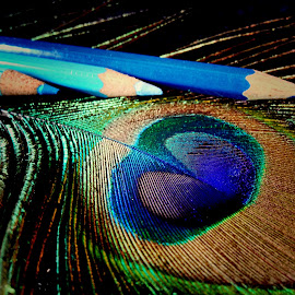 by Janette Ho - Artistic Objects Still Life ( blue, pencil, object,  )