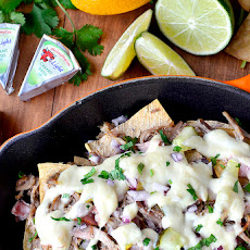 Crock Pot Cuban Nachos with Lighter Nacho Cheese Sauce