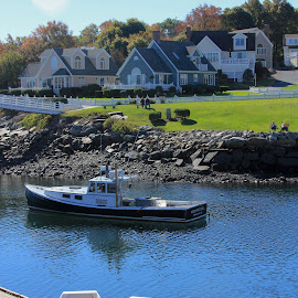 By the Cove by Sandie Lawler - Novices Only Landscapes ( ogunquit, perkins cove, maine, autumn, boats, 2014 fall )