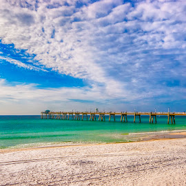 Island Beach Walk by Ian Van Schepen - Landscapes Beaches ( blue sky, florida, fine art photography, pier, travel, white sand )