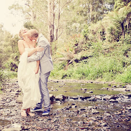 Gavin & Birgit by Alan Evans - Wedding Bride & Groom ( love, wedding photography, kissing, wedding day, wedding, creek, aj photography, couple, bride and groom, couple in love,  )