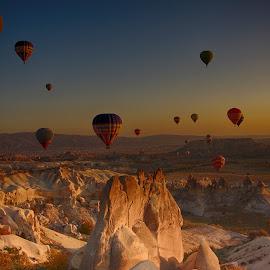 morning in the Capadocia.. by Korhan Kilic - City,  Street & Park  Skylines ( love, water, sky, balloons, sun )