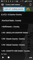 Screenshot of Top Country radio stations