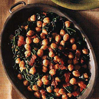 Spinach and Chick Peas with Bacon