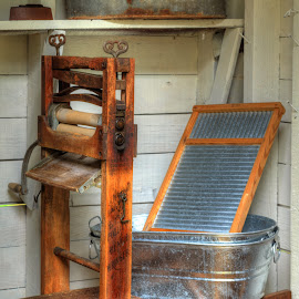 Wash Day by Robert Peterson - Artistic Objects Still Life ( wash tub, ringer, scrub board, benson-hammond house )