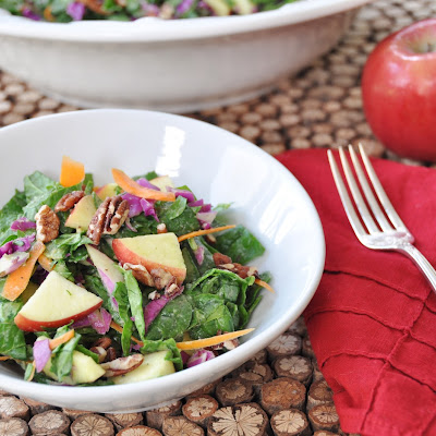 Spinach, Apple, and Pecan Salad with an Avocado Cider Dressing