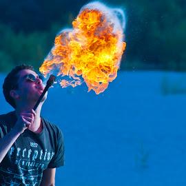 Man and fire by Zeljko Kliska - People Musicians & Entertainers ( people, entertainment )