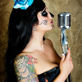 calavera singing softly by Alicia Robichaud - People Body Art/Tattoos ( calavera, pin-up, day of the dead, tattoo, alicia robichaud photography,  )