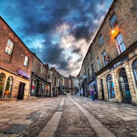 ELVET BRIDGE by Ian Taylor - City,  Street & Park  Street Scenes ( clouds, cobbles, durham, hdr, shops, street, city )