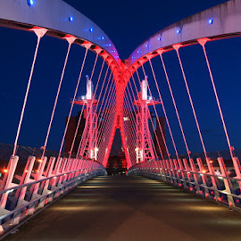 Lowery bridge. by Bob Rawlinson - Buildings & Architecture Bridges & Suspended Structures ( salford quays )