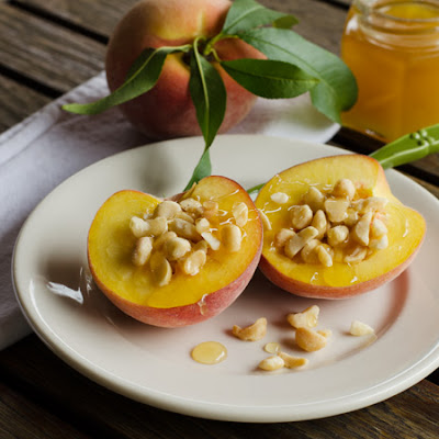 Peaches with Macadamias and Honey