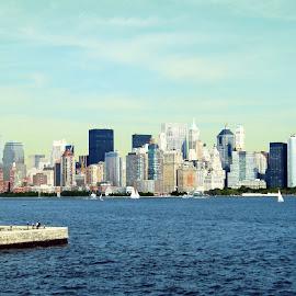 Land of Immigration - New York by Vinod Chauhan - City,  Street & Park  Street Scenes ( new york skyline, sea, new york, new york city, usa, land of immigration )