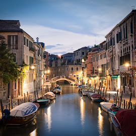 Venice by Chris Pugh - City,  Street & Park  Neighborhoods ( water, waterscape, venice, night, boat, italy )