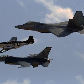 Freedom Flight by Daniel Dressel - Transportation Airplanes ( f22 raptor, miramar air show, p51, mustang, f22, f16, falcon, raptor, f16 falcon, p51 mustang )