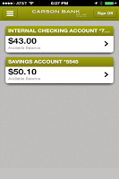 Screenshot of Carson Bank Mobile Banking