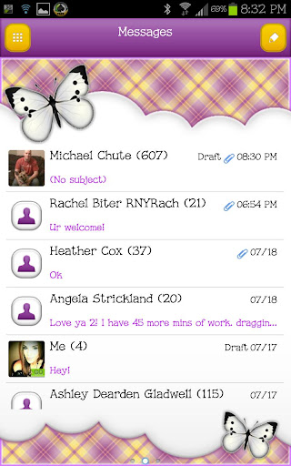 GO SMS - Golden Butterfly Sky