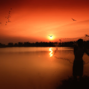 sunset on the lake by Syahbuddin Nurdiyana - Digital Art People