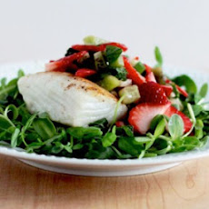 Seared Halibut with Microgreens Salad