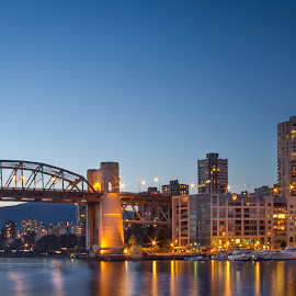 Vancover at Night by Jeannie Meyer - City,  Street & Park  Skylines ( water, canada, alaska, night, cityscape, bridge,  )