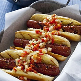 Teriyaki Hot Dogs With Mustard Red Pepper Relish