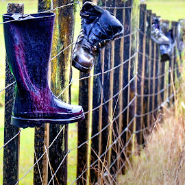 The Boot Fence. by Mal Meadows - Artistic Objects Clothing & Accessories
