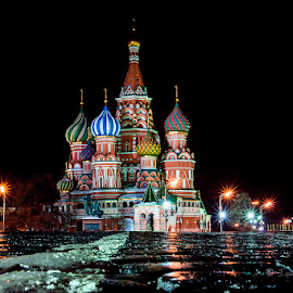 Saint Basil's Cathedral by Ionut Burloiu - Buildings & Architecture Places of Worship ( lights, church, moscow, cathedral, night, basil, city )