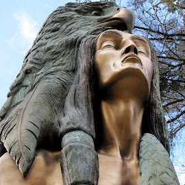 Transformation Through Forgiveness by Teresa Daines - Buildings & Architecture Statues & Monuments ( statue, eagle, forgiveness, cherokee, improving mood, moods, red, love, the mood factory, inspirational, passion, passionate, enthusiasm,  )