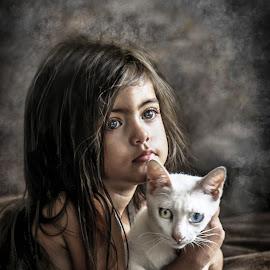 Van Cat girl by Nathalie Gemy - Babies & Children Children Candids ( girl child, cat, child candid, girl, tenderness, adorable, van cat, white cat )