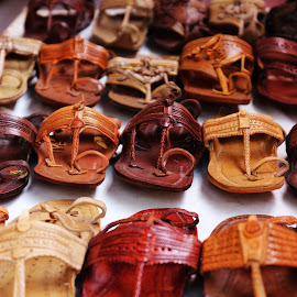 Kohlapuri Chappal by Sandeep Nair - Artistic Objects Clothing & Accessories ( slippers, indian, brown, leather, rural, rows )