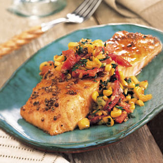 Roasted Salmon with Red Pepper and Corn Relish