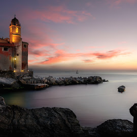 TELLARO SUNSET by Paolo Lazzarotti - Landscapes Sunsets & Sunrises ( red clouds, tellaro, sunset, bell tower, seascape, boat,  )