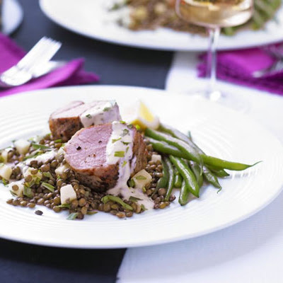 Mustard Pork Fillet With Apple Lentils & Herb Aioli