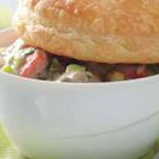 Mini Salmon-Mushroom Potpies with Roasted Green Beans
