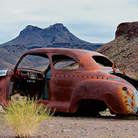 Sitting on RT. 66 in AZ by Leslie Nu - Transportation Automobiles ( car, automobiles, az, trunk, autos, rt. 66, rust, cool springs, antique, junk )