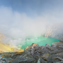 Mt Ijen by Tim Pryce - Landscapes Mountains & Hills ( crater, sulphur, mining, volcano, mt ijen, indonesia, east java, lake )