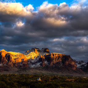Supertition Gold by Jim Moon - Landscapes Mountains & Hills ( snow on new years day 2015, az, reflection, supertition mountains, hdr, http://superstitionmountainmuseum.org/elvis-chapel/, 01/01/2015, sunset, whisper river photography, arizona, apache, jim moon, , golden hour, sunrise, Earth, Light, Landscapes, Views, #GARYFONGDRAMATICLIGHT, #WTFBOBDAVIS )