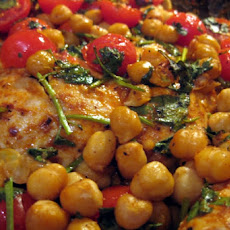 Roast Chicken Breasts With Garbanzo Beans, Tomatoes and Paprika