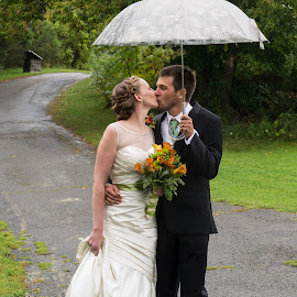 under the umbrella by Sandra Veech - Wedding Bride & Groom