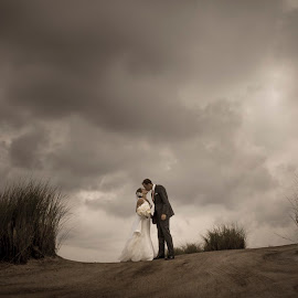 Wedding under the storm by John Wollwerth - Wedding Bride & Groom ( wedding, dramatic, bride and groom, storm, panorama )