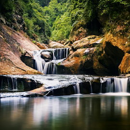 Jump Rock by Bradley Rasmussen - Landscapes Waterscapes ( canon, water, macquarie pass national pass, reflection, wollongong, waterscape, waterfall, nsw, ef 24-70, landscape, 6d, national park, photoshop cc, cascade, australia, lightroom )