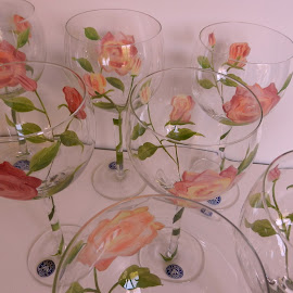 Hand-Painted Rose Goblets by Kathy Rose Willis - Artistic Objects Glass