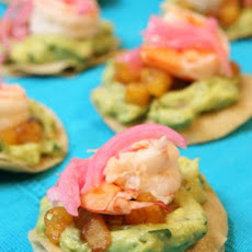 Coconut-Poached Shrimp Tostadas