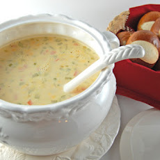 Cheese Soup and Pretzel Rolls