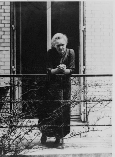 Marie Curie on the terrace of the Curie Laboratory at the Radium Institute, 1923