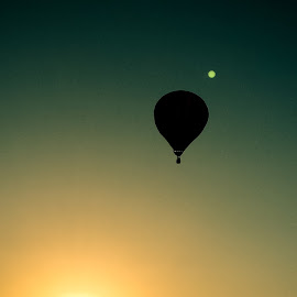 Sunset flight by Kim Chandler - Instagram & Mobile Android ( flying, sky, silhouette, sunset, balloon )