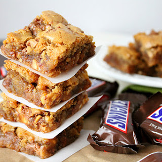 Caramel Snickers Cookie Bars