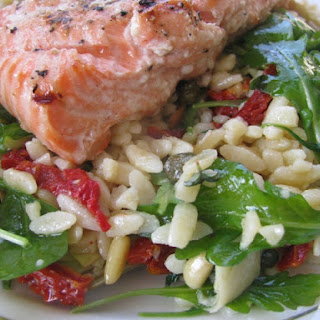 "Grilled Salmon and Orzo ""O"" Style"