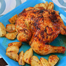 Roasted Greek Chicken and Potatoes In Lemon-Oregano Vinaigrette