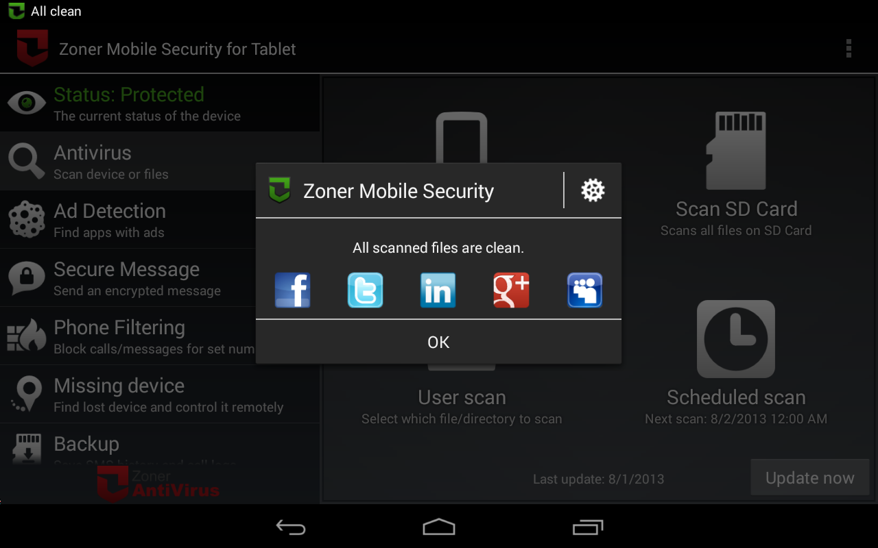 Zoner Mobile Security - Tablet Screenshot 6
